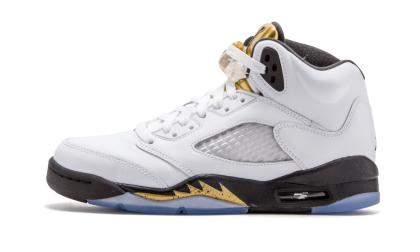 "Air Jordan 5 Retro WMNS ""Olympic Gold Medal"" White/Black-Mtlc Gold Coin 440888-133"