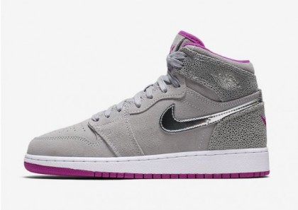 "Air Jordan 1 GS ""Maya Moore"" Wolf Grey/Metallic Silver-Fuchsia Flash 332148-012"