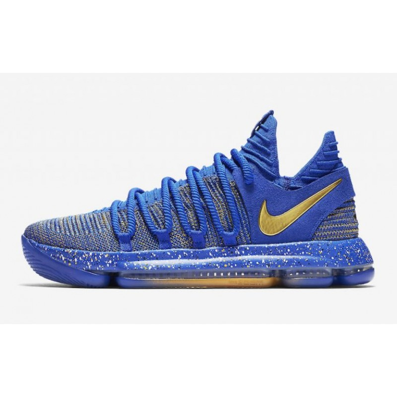 "Excellent Nike KD 10 ""Celebration"" Racer Blue/Metallic Gold 897815-403"