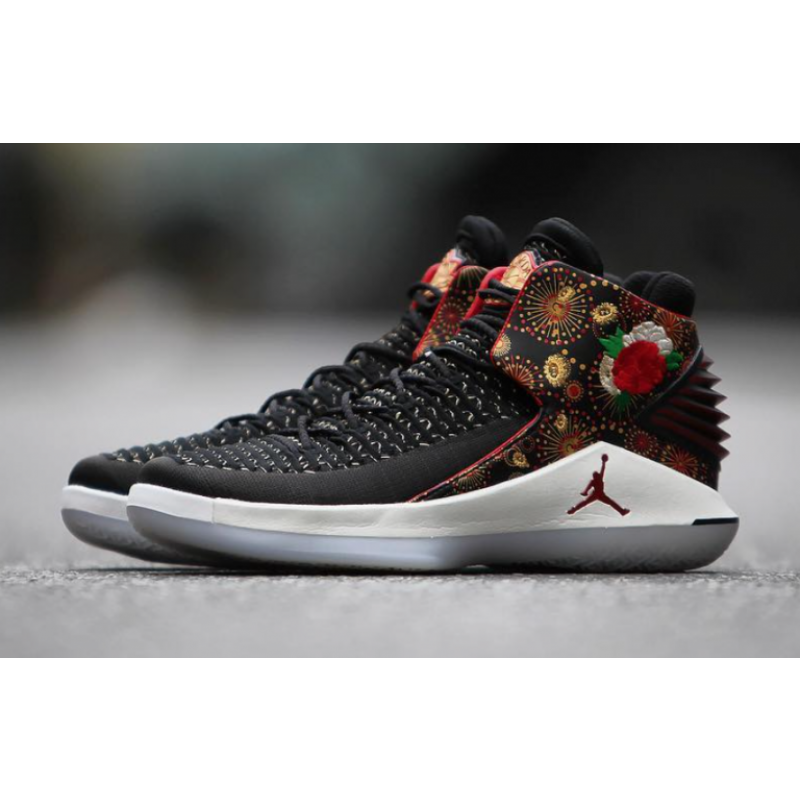 Valentines Day Air Jordan 32 CNY Black/University Red/White-Metallic Gold AJ6331-042