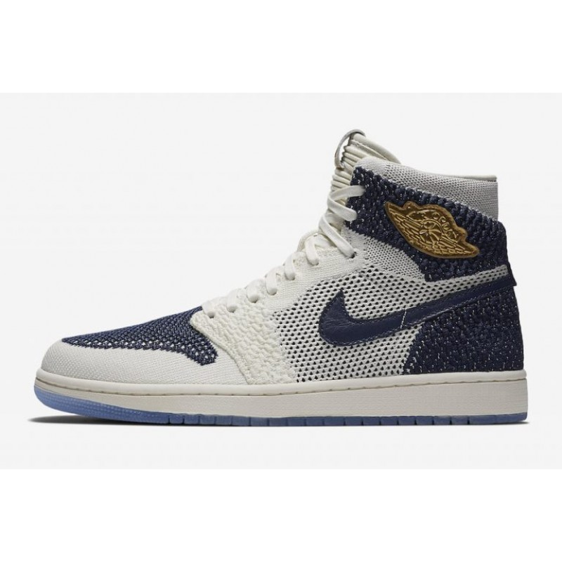 "Air Jordan 1 Flyknit ""RE2PECT"" Sail/Midnight Navy-Metallic Gold AH7233-105"