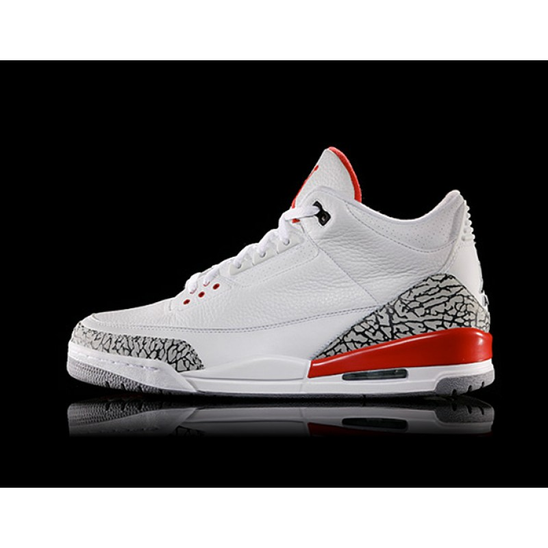 "Air Jordan 3 ""Katrina"" White/Cement Grey/Black-Fire Red 136064-116"