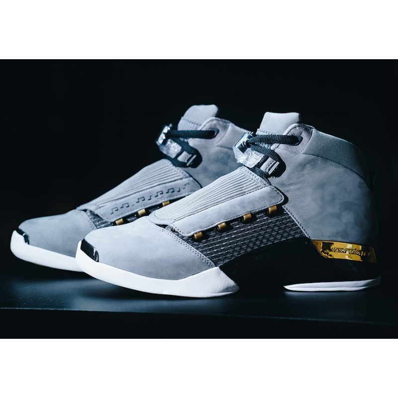 "Air Jordan 17 ""Trophy Room"" Cool Grey/Metallic Gold-Black AH7963-023"