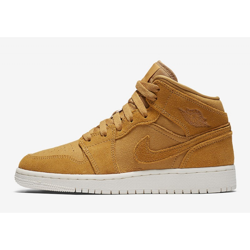 Air Jordan 1 Mid Wheat Golden Harvest/Sail 554725-725