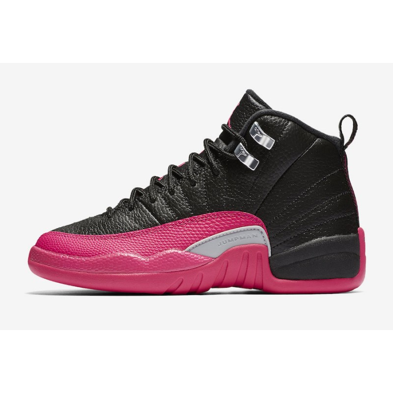 Air Jordan 12 GS Black/Deadly Pink-Metallic Silver 510815-026