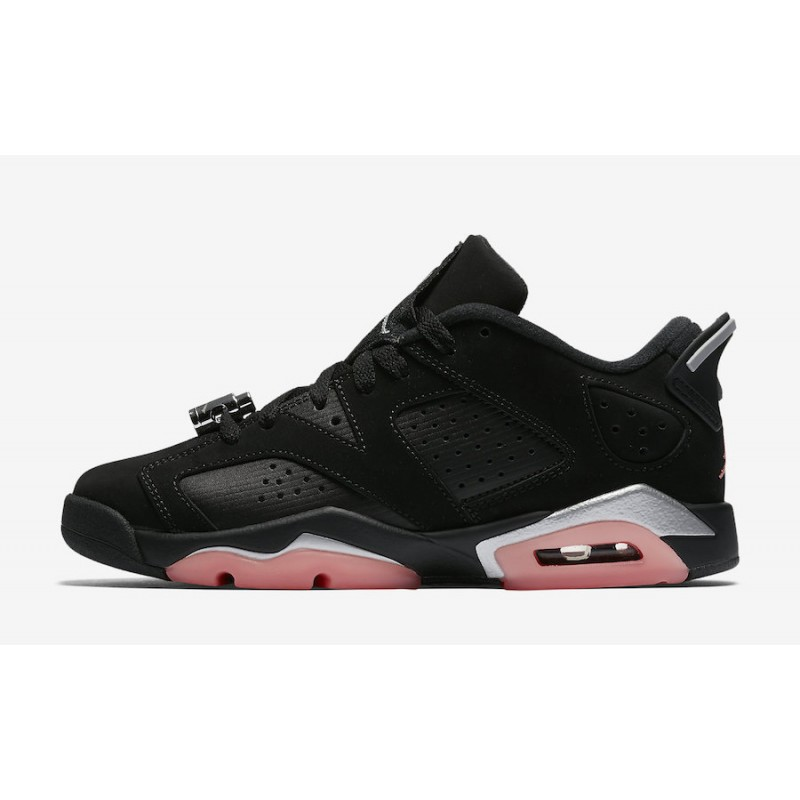 "Air Jordan 6 Low GS ""Sunblush"" Black/Sunblush-Metallic Silver 768878-022"