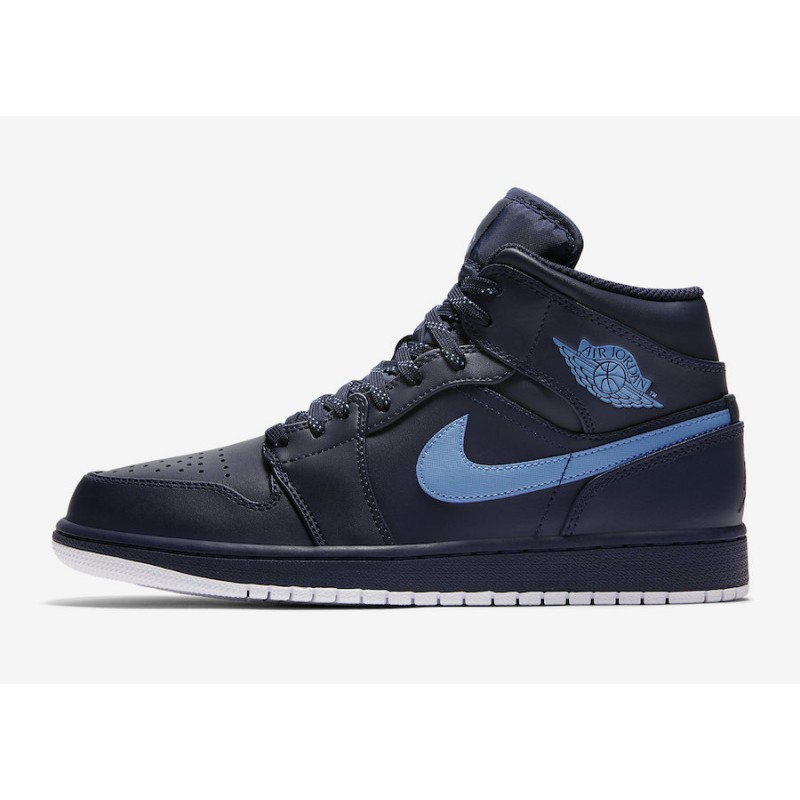 "Air Jordan 1 Mid ""Obsidian"" Obsidian/University Blue-White 554724-405"
