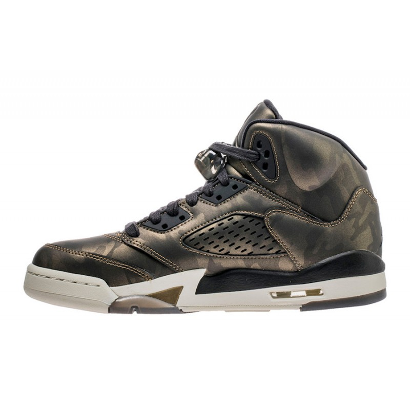 "Air Jordan 5 Premium Heiress ""Camo"" Black/Light Bone-Metallic Field 919710-030"
