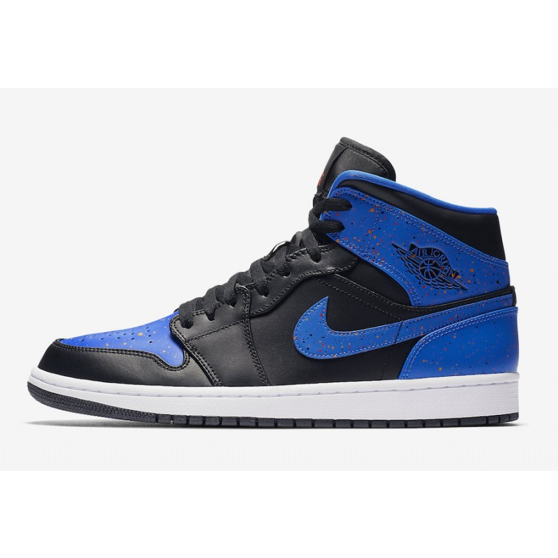 Air Jordan 1 Mid Black/Signal Blue-Orange Peel - 554724-048