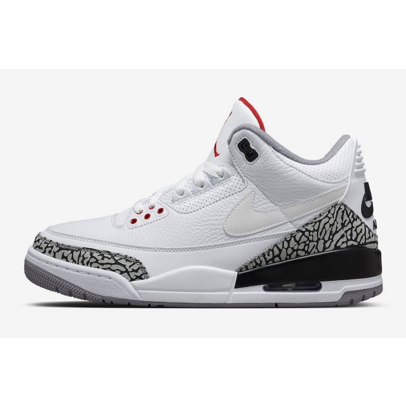 Air Jordan 3 JTH White/White-Fire Red-Black - AV6683-160