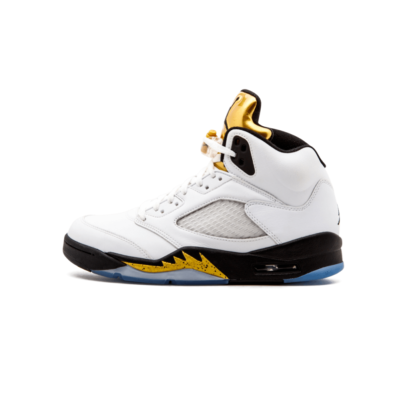 "Air Jordan 5 Retro ""Olympic Gold Medal"" White/Black-Mtlc Gold Coin 136027-133"