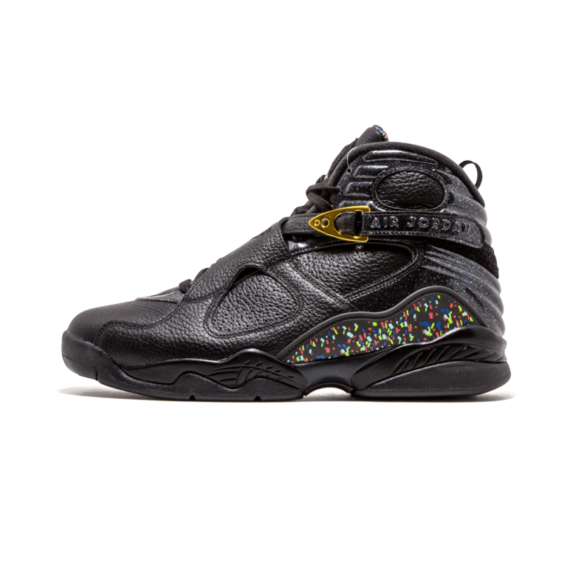 "Air Jordan 8 Retro C&C ""Confetti"" Black/Metallic Gold-Anthrct 832821-004"