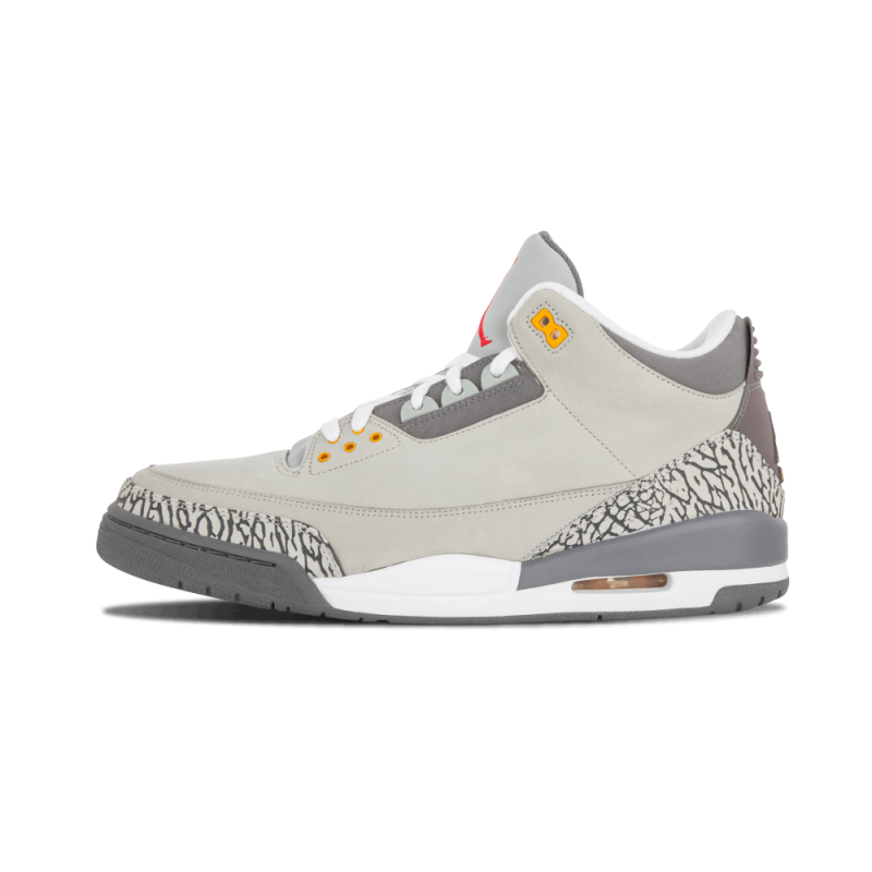 "Air Jordan 3 LS ""Cool Grey"" Silver/Sport Red-Graphite-orange 315297-062"