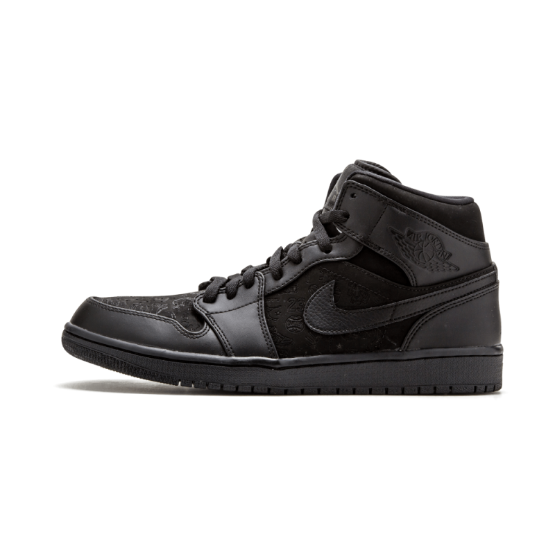 "Air Jordan 1 Mid ""166 Flatbush"" ""Six Rings"" Black/Black 554724-011b"