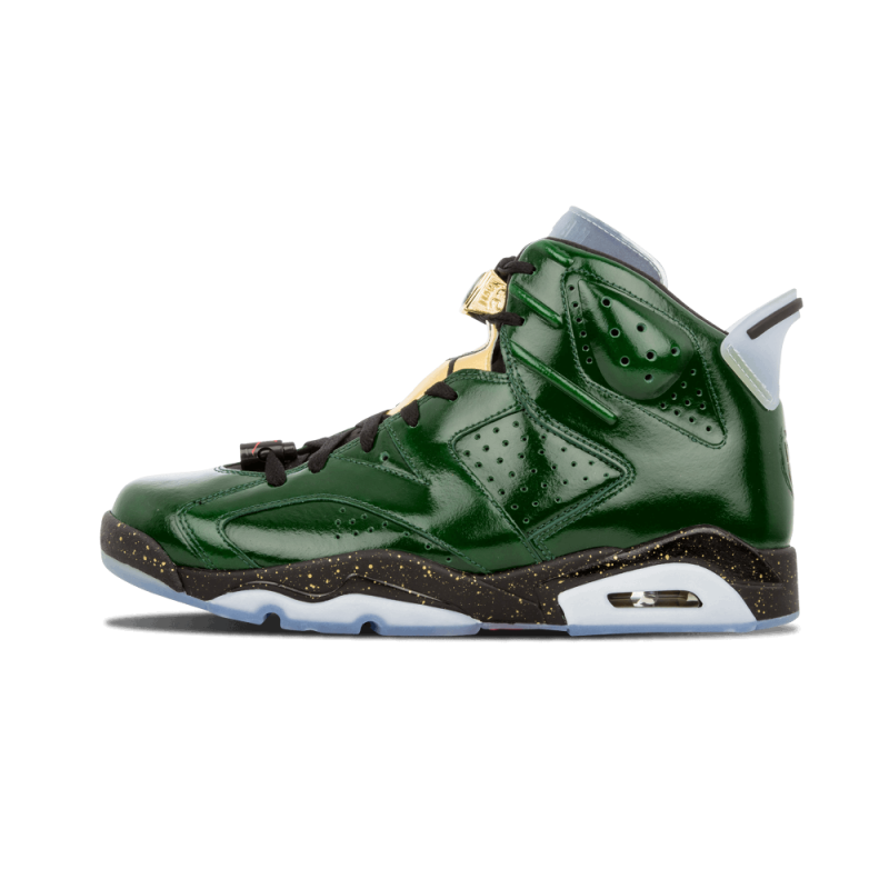 "Air Jordan 6 Retro ""Champagne"" PR Green/Metallic Gold-Red 384664-350"